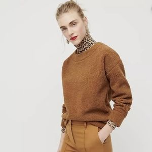NWT-J Crew Teddy Cropped Sherpa Pullover Sweater